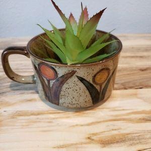 Vintage Speckled Ceramic Mug with Flowers